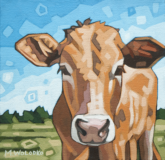 """Cow in the Meadow 8""""x8"""""""