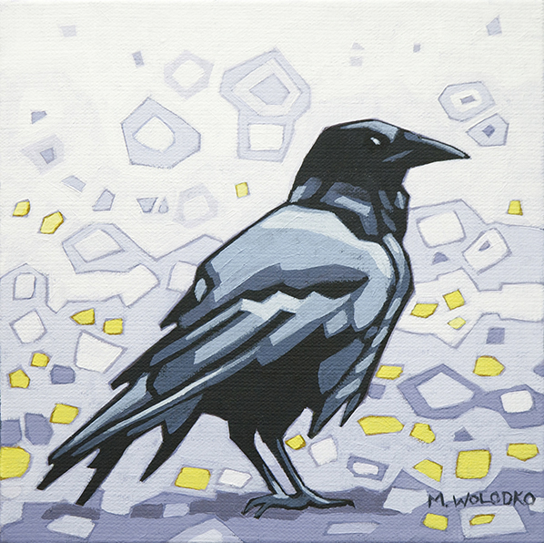 """Crow-1 8""""x8"""" (sold)"""
