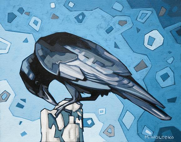 "Crow Pecking 11""x14"""