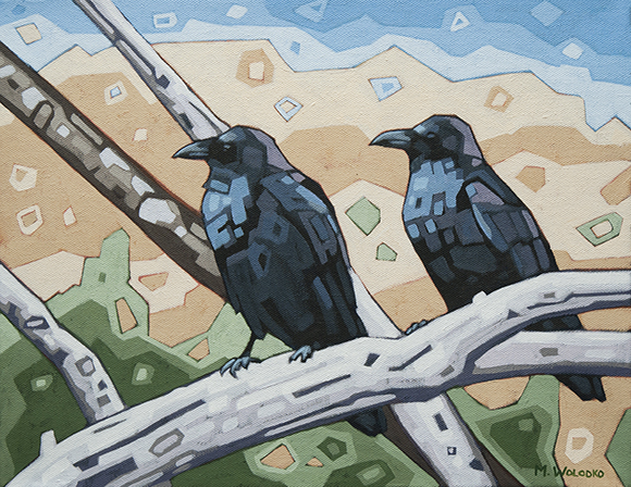 """Resting Crows 18""""x14"""""""