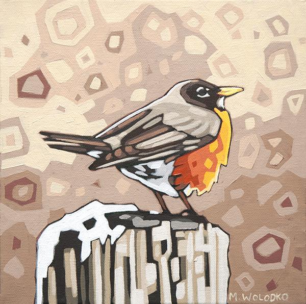 "Robin 8""x8"" (sold)"
