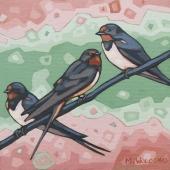 "Barn Swallows 8""x8"" (sold)"