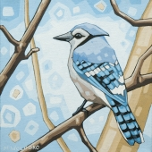 """Blue Jay (2) 8""""x8"""" (sold)"""